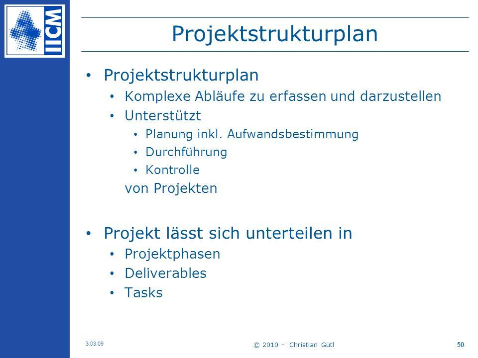 Projektstrukturplan Komplexe Abläufe zu erfassen und darzustellen Unterstützt Planung inkl.