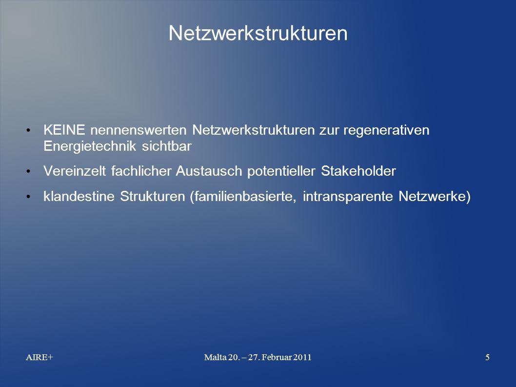 Netzwerkstrukturen KEINE nennenswerten Netzwerkstrukturen zur regenerativen Energietechnik sichtbar Vereinzelt fachlicher Austausch potentieller Stakeholder klandestine Strukturen (familienbasierte, intransparente Netzwerke) AIRE+Malta 20.
