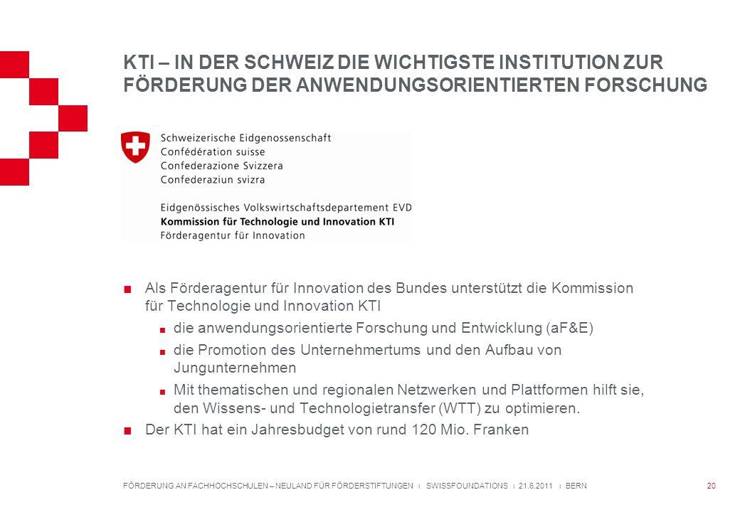 KTI – IN DER SCHWEIZ DIE WICHTIGSTE INSTITUTION ZUR FÖRDERUNG DER ANWENDUNGSORIENTIERTEN FORSCHUNG Als Förderagentur für Innovation des Bundes unterstützt die Kommission für Technologie und Innovation KTI die anwendungsorientierte Forschung und Entwicklung (aF&E) die Promotion des Unternehmertums und den Aufbau von Jungunternehmen Mit thematischen und regionalen Netzwerken und Plattformen hilft sie, den Wissens- und Technologietransfer (WTT) zu optimieren.