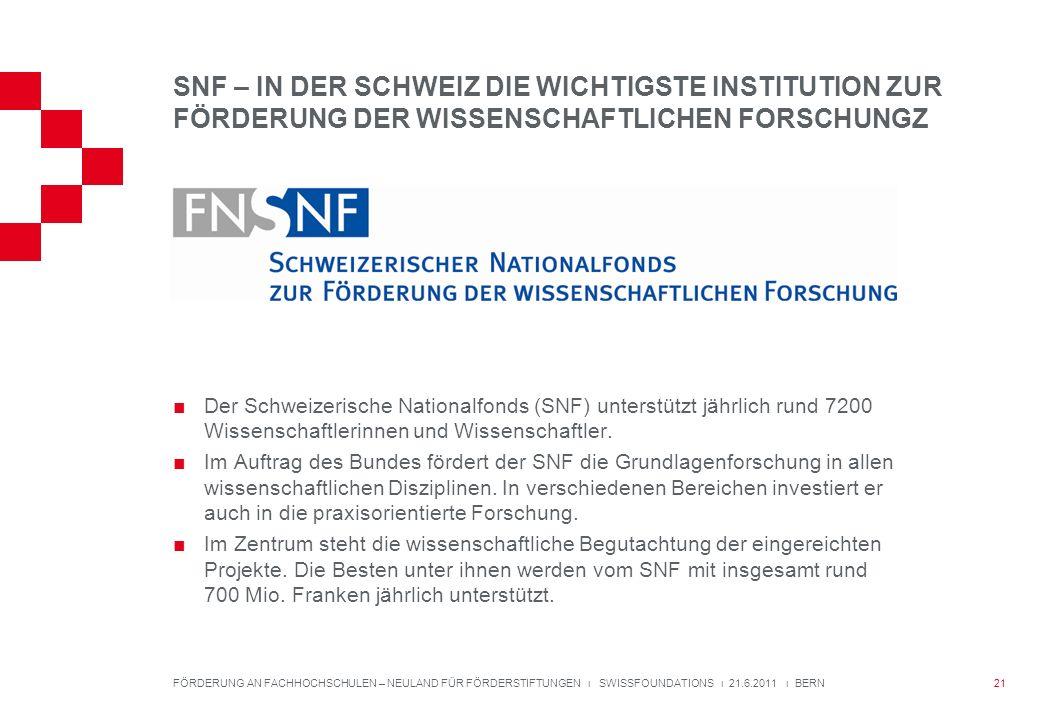 SNF – IN DER SCHWEIZ DIE WICHTIGSTE INSTITUTION ZUR FÖRDERUNG DER WISSENSCHAFTLICHEN FORSCHUNGZ Der Schweizerische Nationalfonds (SNF) unterstützt jährlich rund 7200 Wissenschaftlerinnen und Wissenschaftler.