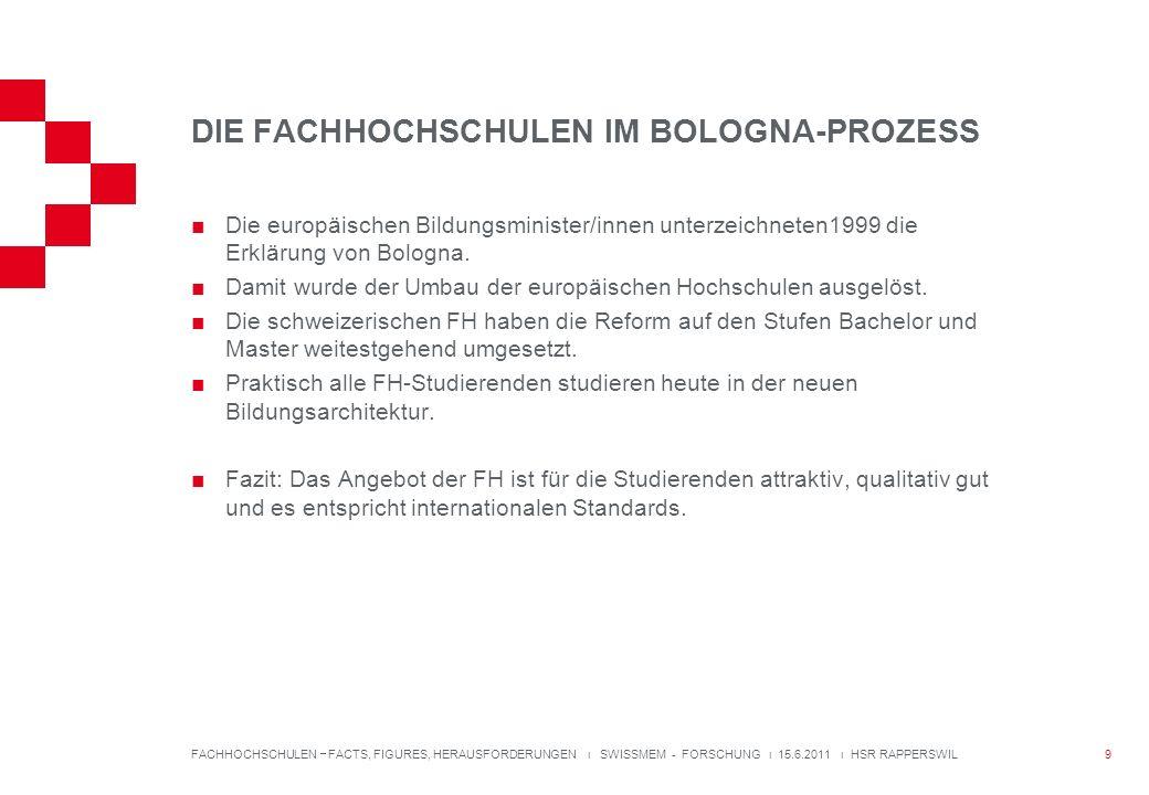 DIE FACHHOCHSCHULEN IM BOLOGNA-PROZESS Die europäischen Bildungsminister/innen unterzeichneten1999 die Erklärung von Bologna.