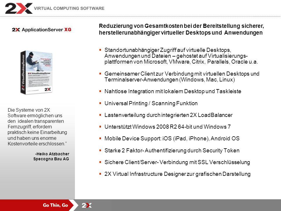 Produkte Portfolio von 2X Software Sichere Bereitstellung von Applikationen, Dateien und virtuellen Desktops Konventierung von PCs in Thin-Clients und