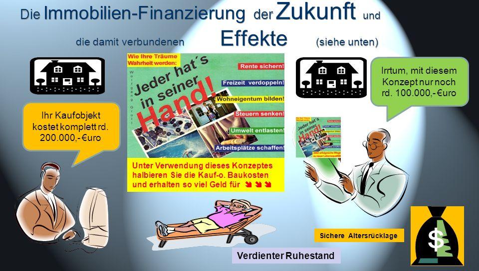 Die Immobilien-Finanzierung der Zukunft und die damit verbundenen Effekte (siehe unten) Verdienter Ruhestand Sichere Altersrücklage Ihr Kaufobjekt kos