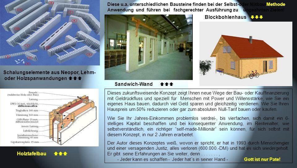 Blockbohlenhaus Schalungselemente aus Neopor, Lehm- oder Holzspanwandungen Sandwich-Wand Holztafelbau Diese u.a. unterschiedlichen Bausteine finden be