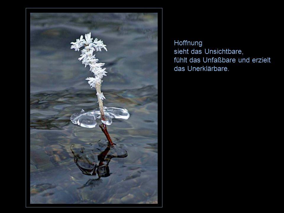 Hoffnung sieht das Unsichtbare, fühlt das Unfaßbare und erzielt das Unerklärbare.