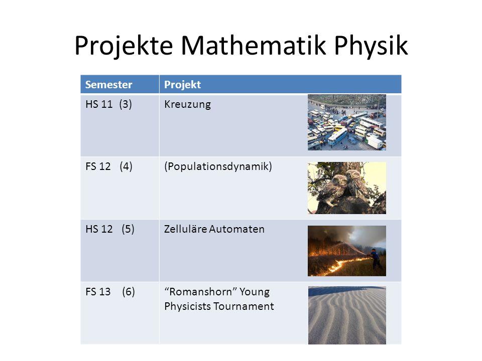 Projekte Mathematik Physik SemesterProjekt HS 11 (3)Kreuzung FS 12 (4)(Populationsdynamik) HS 12 (5)Zelluläre Automaten FS 13 (6)Romanshorn Young Physicists Tournament