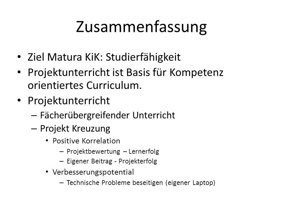 Zusammenfassung Ziel Matura KiK: Studierfähigkeit Projektunterricht ist Basis für Kompetenz orientiertes Curriculum. Projektunterricht – Fächerübergre