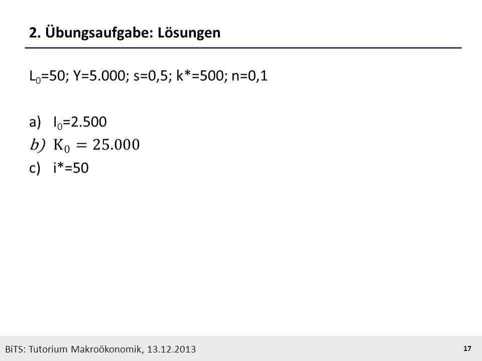 KOOTHS | BiTS: Makroökonomik WS 2013/2014, Fassung 1 17 BiTS: Tutorium Makroökonomik, 13.12.2013 2. Übungsaufgabe: Lösungen
