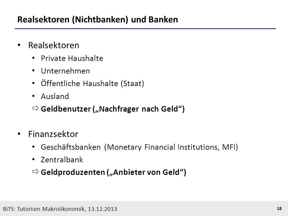 KOOTHS | BiTS: Makroökonomik WS 2013/2014, Fassung 1 18 BiTS: Tutorium Makroökonomik, 13.12.2013 Realsektoren (Nichtbanken) und Banken Realsektoren Pr