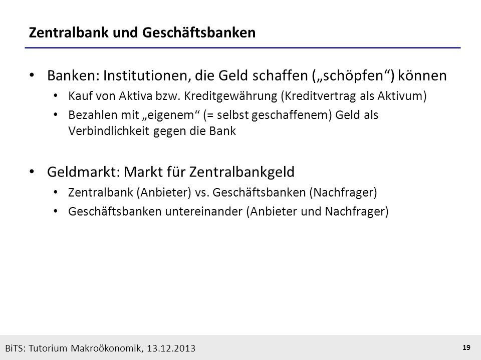 KOOTHS | BiTS: Makroökonomik WS 2013/2014, Fassung 1 19 BiTS: Tutorium Makroökonomik, 13.12.2013 Zentralbank und Geschäftsbanken Banken: Institutionen
