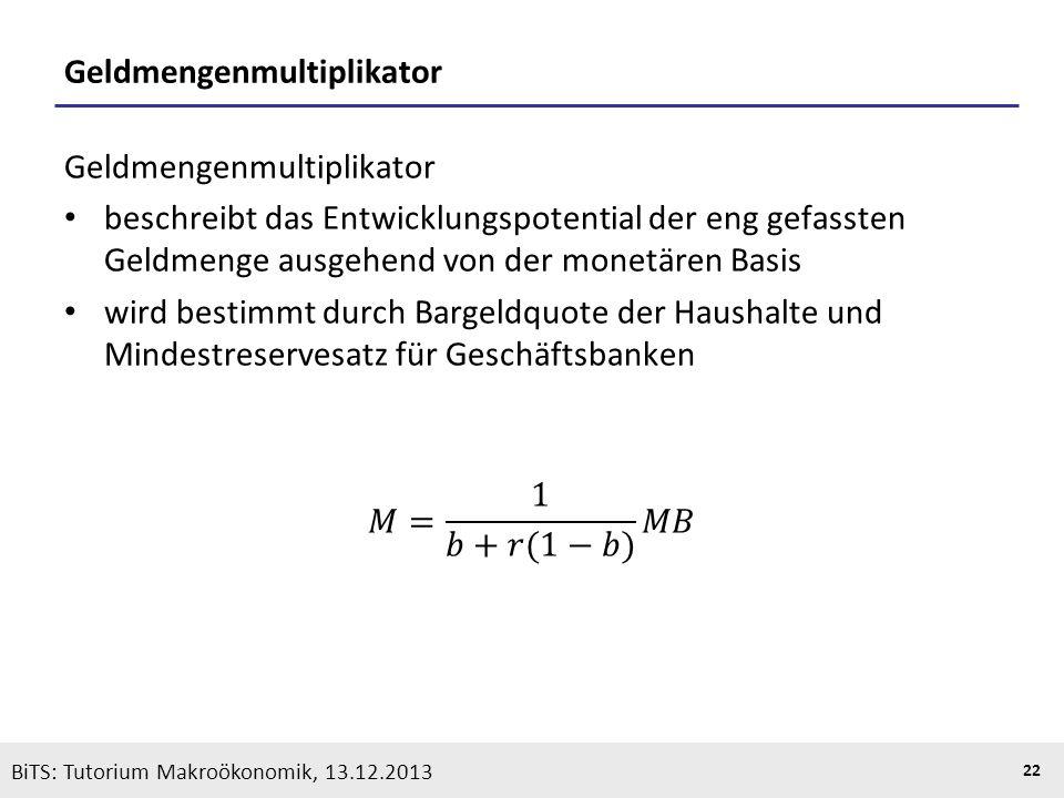 KOOTHS | BiTS: Makroökonomik WS 2013/2014, Fassung 1 22 BiTS: Tutorium Makroökonomik, 13.12.2013 Geldmengenmultiplikator
