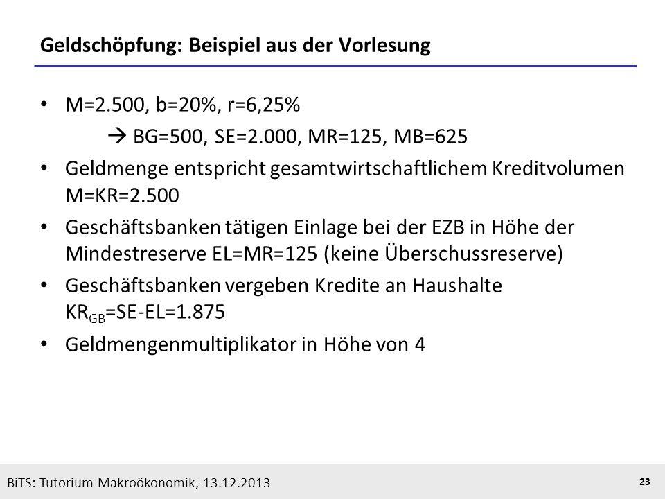KOOTHS | BiTS: Makroökonomik WS 2013/2014, Fassung 1 23 BiTS: Tutorium Makroökonomik, 13.12.2013 Geldschöpfung: Beispiel aus der Vorlesung M=2.500, b=