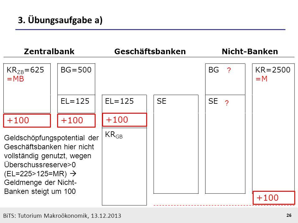 KOOTHS | BiTS: Makroökonomik WS 2013/2014, Fassung 1 26 BiTS: Tutorium Makroökonomik, 13.12.2013 3. Übungsaufgabe a) ZentralbankGeschäftsbankenNicht-B