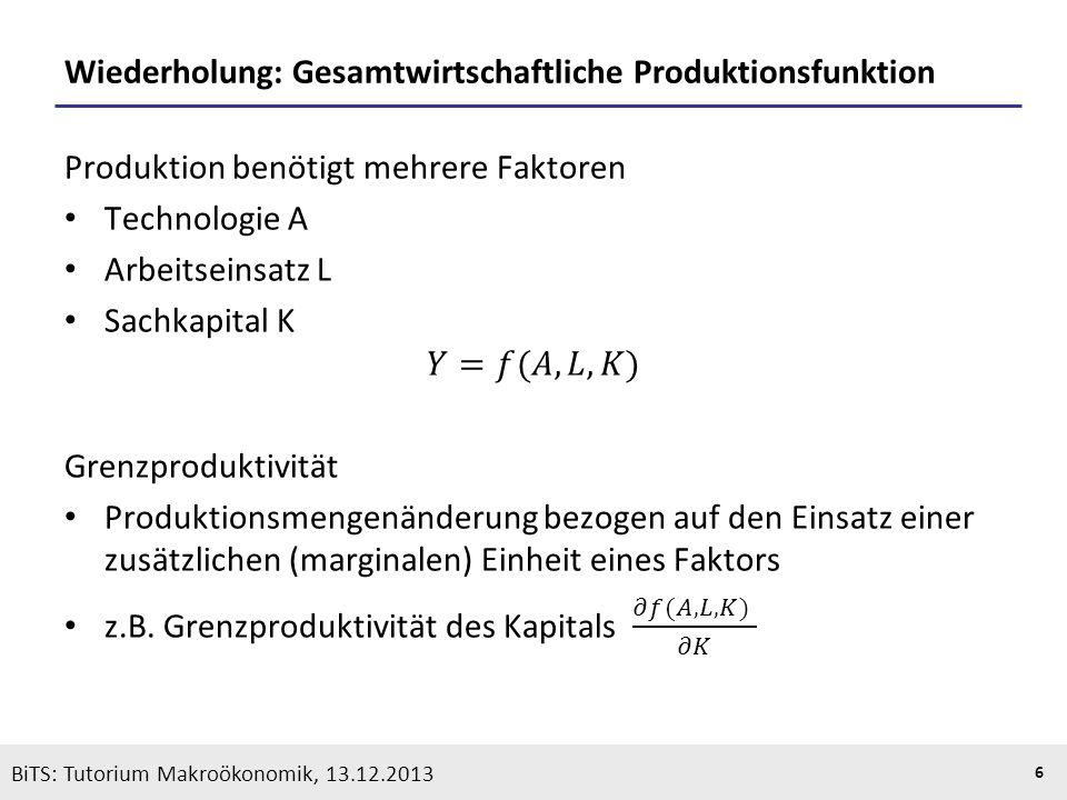 KOOTHS | BiTS: Makroökonomik WS 2013/2014, Fassung 1 6 BiTS: Tutorium Makroökonomik, 13.12.2013 Wiederholung: Gesamtwirtschaftliche Produktionsfunktio
