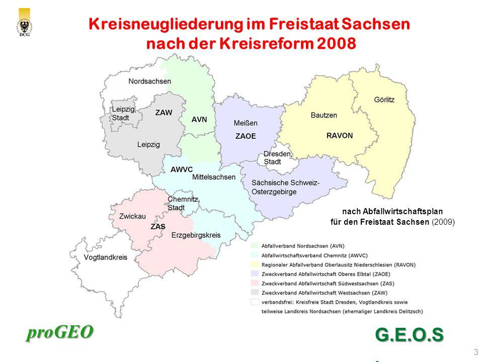 proGEO 3 Kreisneugliederung im Freistaat Sachsen nach der Kreisreform 2008 G.E.O.S.
