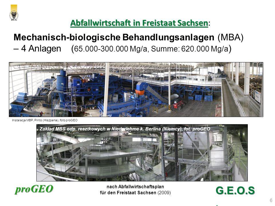 proGEO Abfallwirtschaft in Freistaat Sachsen Abfallwirtschaft in Freistaat Sachsen: 7 G.E.O.S.