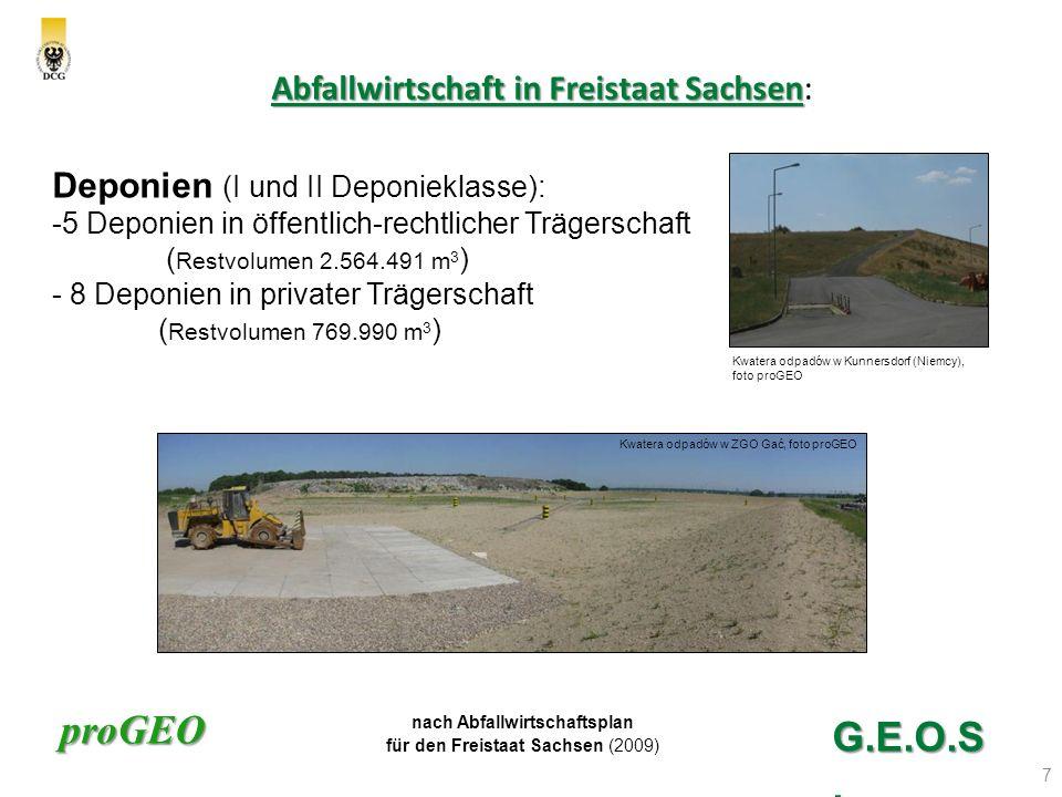 proGEO Abfallwirtschaft in Freistaat Sachsen Abfallwirtschaft in Freistaat Sachsen: 8 G.E.O.S.
