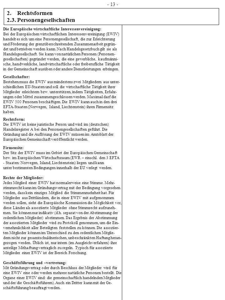 2. Rechtsformen 2.3. Personengesellschaften Die Europäische wirtschaftliche Interessenvereinigung: Bei der Europäischen wirtschaftlichen Interessenver