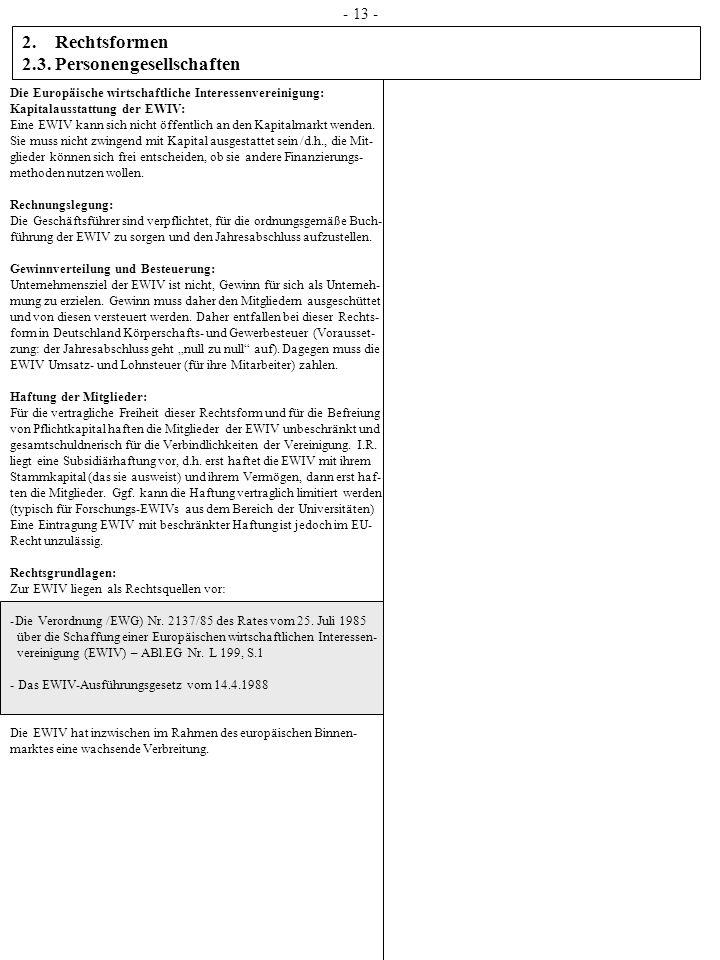 2. Rechtsformen 2.3. Personengesellschaften - 13 - Die Europäische wirtschaftliche Interessenvereinigung: Kapitalausstattung der EWIV: Eine EWIV kann