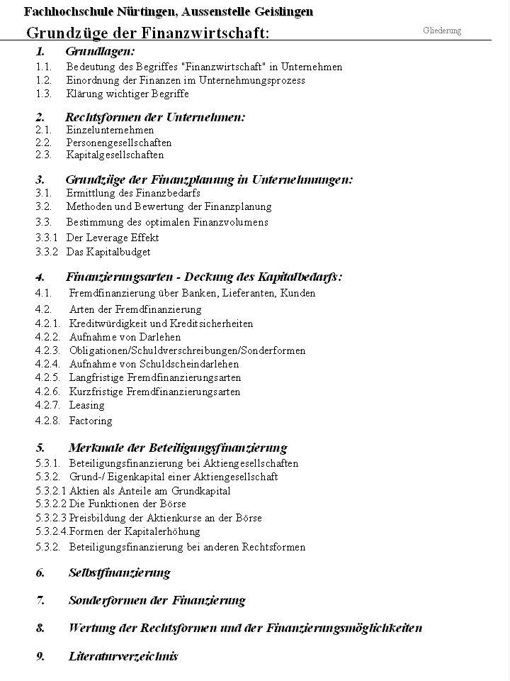 3.Grundzüge der Finanzplanung in Unternehmungen 3.3.1.