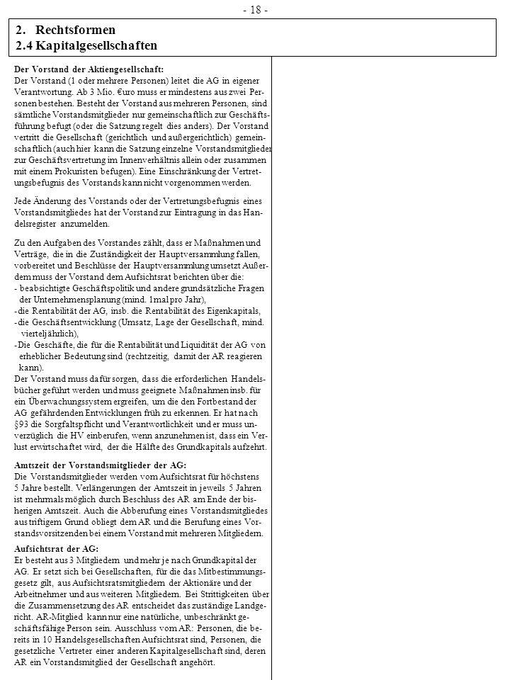 2.Rechtsformen 2.4 Kapitalgesellschaften - 18 - Der Vorstand der Aktiengesellschaft: Der Vorstand (1 oder mehrere Personen) leitet die AG in eigener V