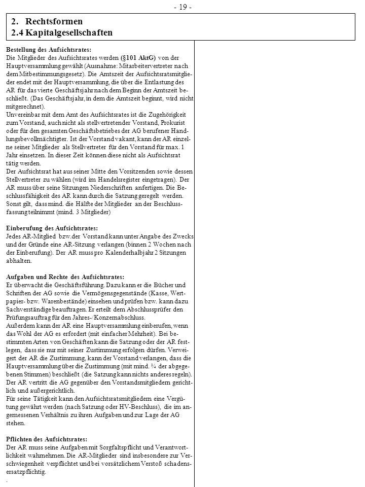 2.Rechtsformen 2.4 Kapitalgesellschaften - 19 - Bestellung des Aufsichtsrates: Die Mitglieder des Aufsichtsrates werden (§101 AktG) von der Hauptversa