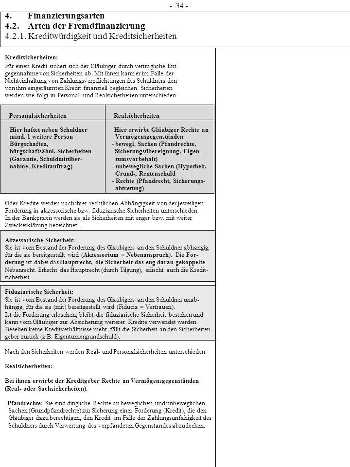 - 34 - 4. Finanzierungsarten 4.2. Arten der Fremdfinanzierung 4.2.1. Kreditwürdigkeit und Kreditsicherheiten Kreditsicherheiten: Für einen Kredit sich