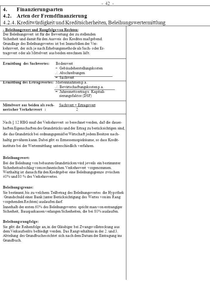 4. Finanzierungsarten 4.2. Arten der Fremdfinanzierung 4.2.4. Kreditwürdigkeit und Kreditsicherheiten, Beleihungswertermittlung - 42 - - Beleihungswer