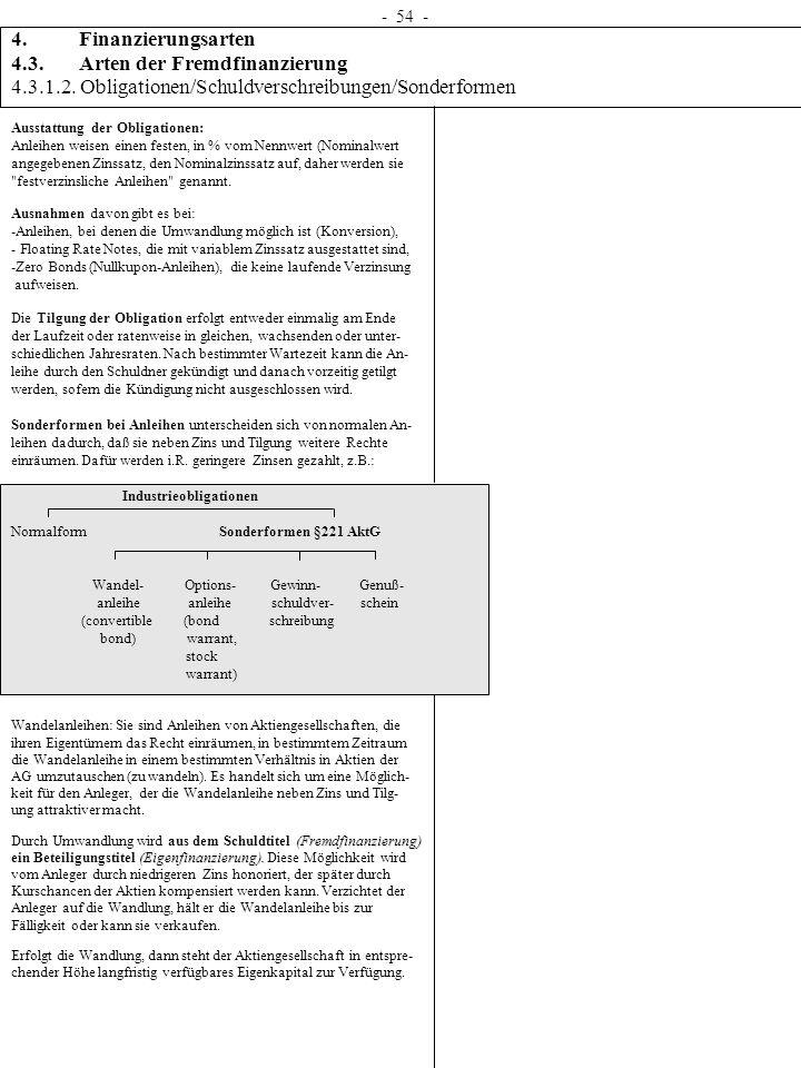 - 54 - 4. Finanzierungsarten 4.3. Arten der Fremdfinanzierung 4.3.1.2. Obligationen/Schuldverschreibungen/Sonderformen Ausstattung der Obligationen: A