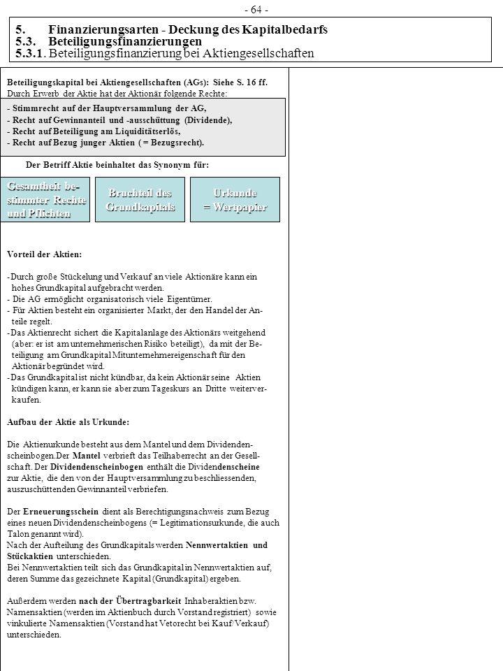5. Finanzierungsarten - Deckung des Kapitalbedarfs 5.3. Beteiligungsfinanzierungen 5.3.1. Beteiligungsfinanzierung bei Aktiengesellschaften Beteiligun