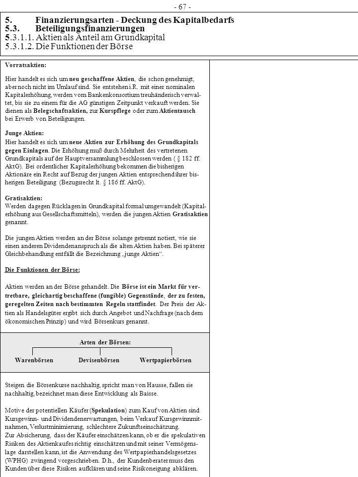 5. Finanzierungsarten - Deckung des Kapitalbedarfs 5.3. Beteiligungsfinanzierungen 5.3.1.1. Aktien als Anteil am Grundkapital 5.3.1.2. Die Funktionen