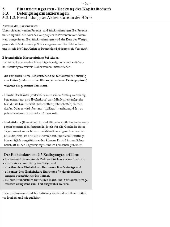 5. Finanzierungsarten - Deckung des Kapitalbedarfs 5.3. Beteiligungsfinanzierungen 5.3.1.3. Preisbildung der Aktienkurse an der Börse Ausweis des Börs