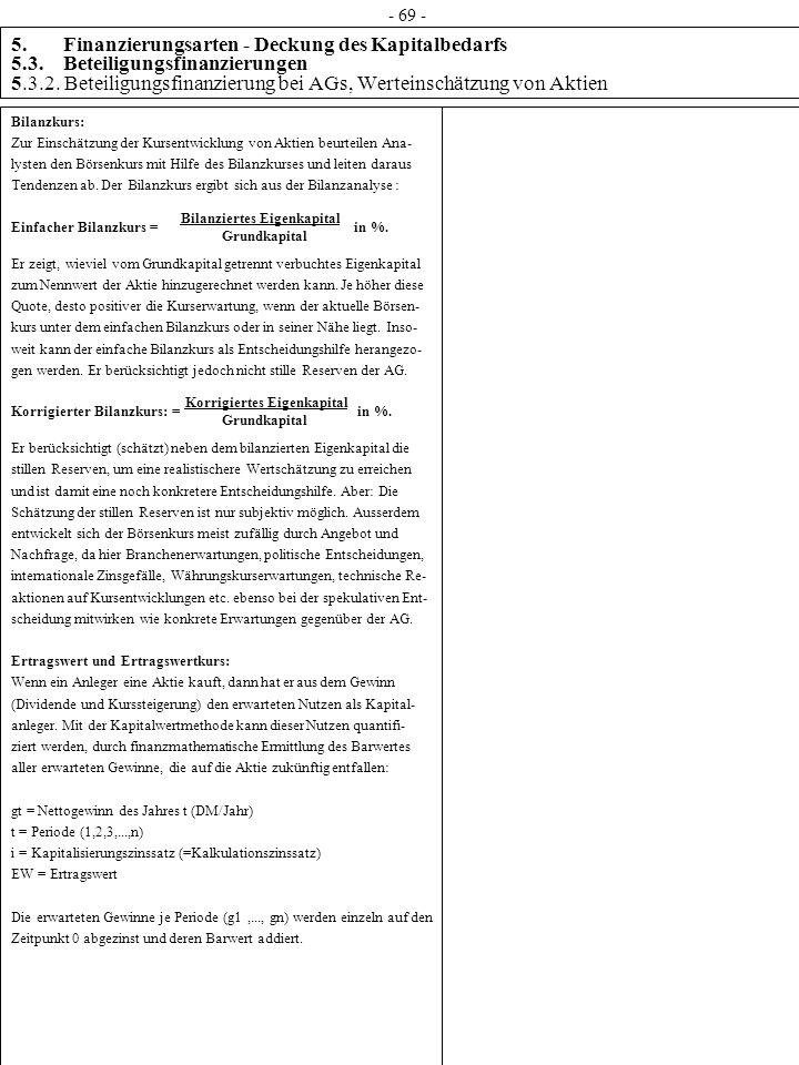 5. Finanzierungsarten - Deckung des Kapitalbedarfs 5.3. Beteiligungsfinanzierungen 5.3.2. Beteiligungsfinanzierung bei AGs, Werteinschätzung von Aktie