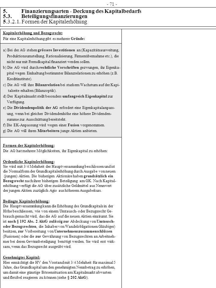 5. Finanzierungsarten - Deckung des Kapitalbedarfs 5.3. Beteiligungsfinanzierungen 5.3.2.1. Formen der Kapitalerhöhung Kapitalerhöhung und Bezugsrecht