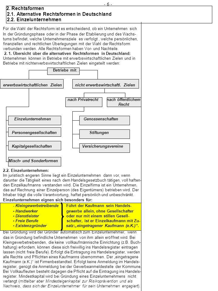 2.Rechtsformen 2.4 Kapitalgesellschaften - 16 - Die Aktiengesellschaft: Die Aktiengesellschaft ist nach deutschem Aktienrecht eine Gesellschaft mit eigener Rechtspersönlichkeit (§1 AktG).
