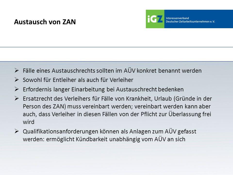 Austausch von ZAN Fälle eines Austauschrechts sollten im AÜV konkret benannt werden Sowohl für Entleiher als auch für Verleiher Erfordernis langer Ein