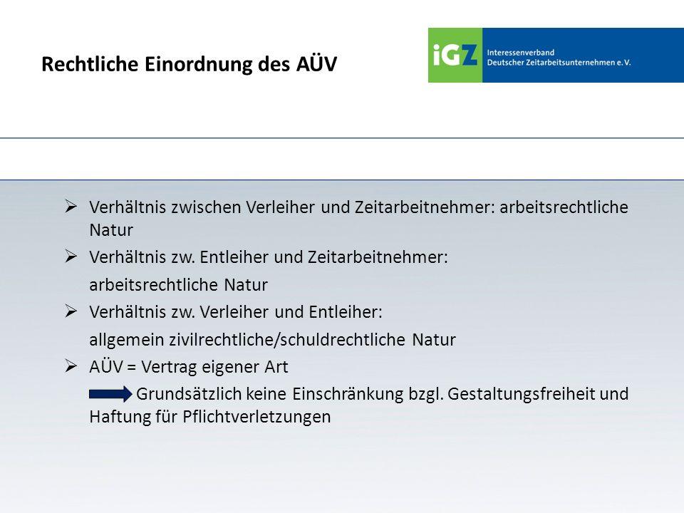Der Arbeitnehmerüberlassungs- vertrag – Gesetzliche Vorgaben Der Entleiher hat gem.