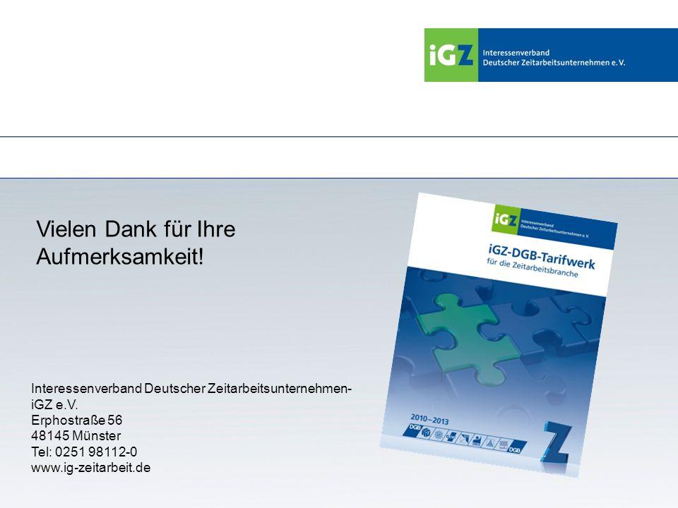 Vielen Dank für Ihre Aufmerksamkeit! Interessenverband Deutscher Zeitarbeitsunternehmen- iGZ e.V. Erphostraße 56 48145 Münster Tel: 0251 98112-0 www.i