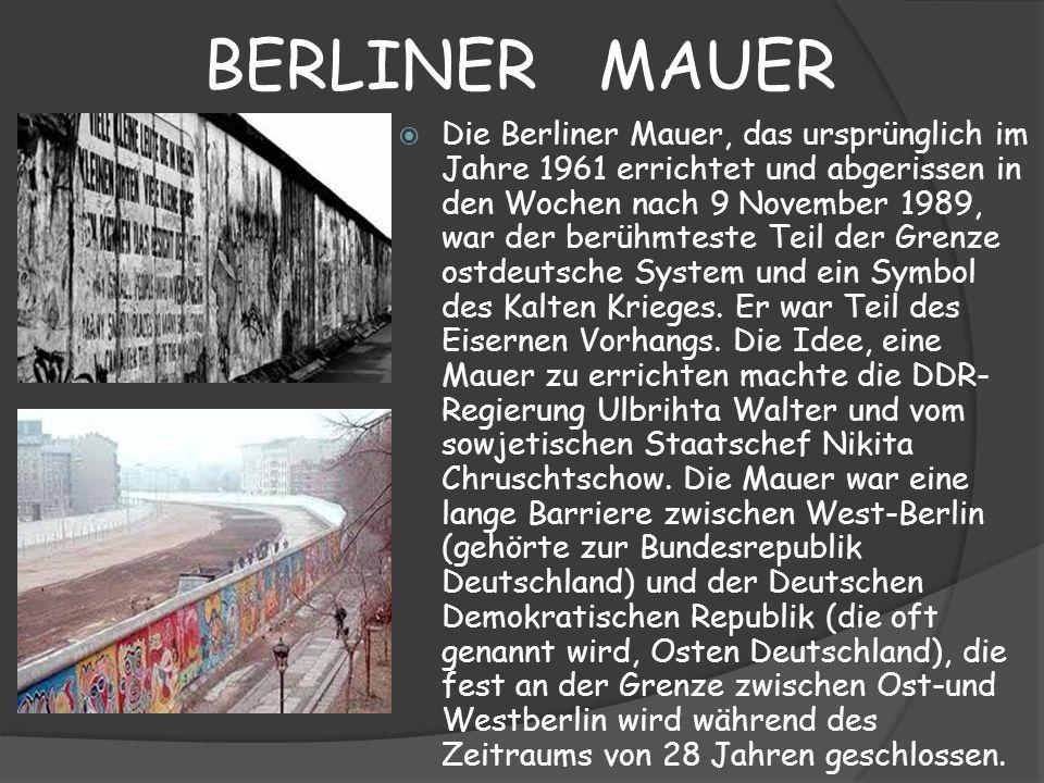 BERLINER MAUER Die Berliner Mauer, das ursprünglich im Jahre 1961 errichtet und abgerissen in den Wochen nach 9 November 1989, war der berühmteste Tei