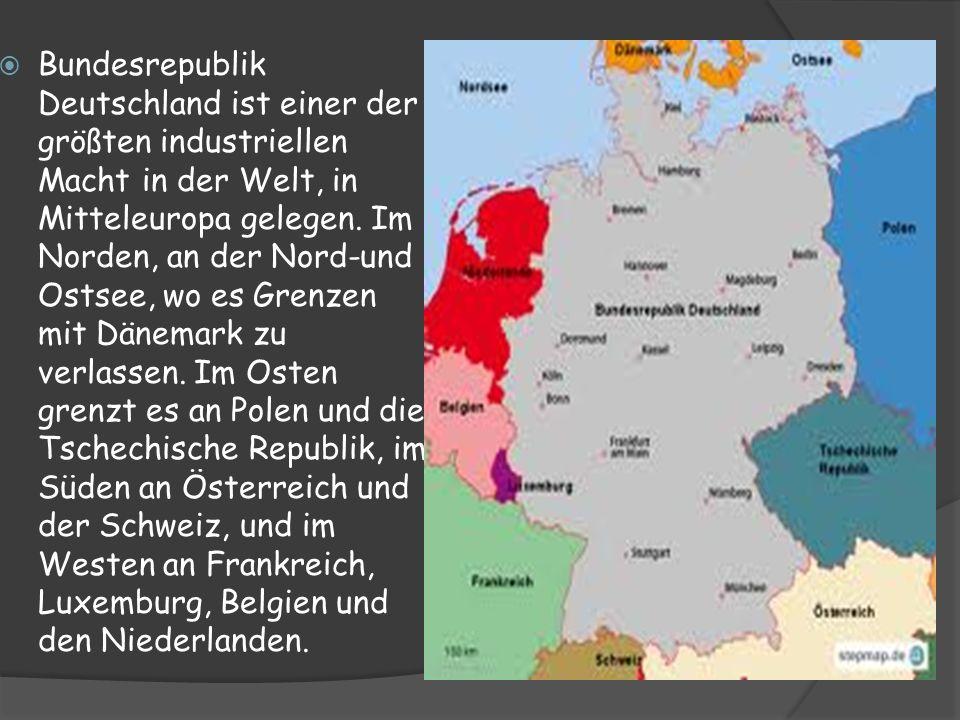Bundesrepublik Deutschland ist einer der größten industriellen Macht in der Welt, in Mitteleuropa gelegen. Im Norden, an der Nord-und Ostsee, wo es Gr