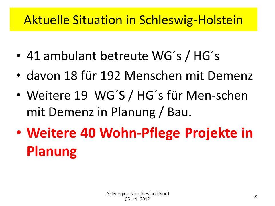 Aktuelle Situation in Schleswig-Holstein 41 ambulant betreute WG´s / HG´s davon 18 für 192 Menschen mit Demenz Weitere 19 WG´S / HG´s für Men-schen mi