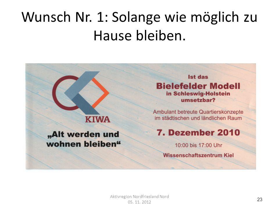Wunsch Nr. 1: Solange wie möglich zu Hause bleiben. 23 Aktivregion Nordfriesland Nord 05. 11. 2012
