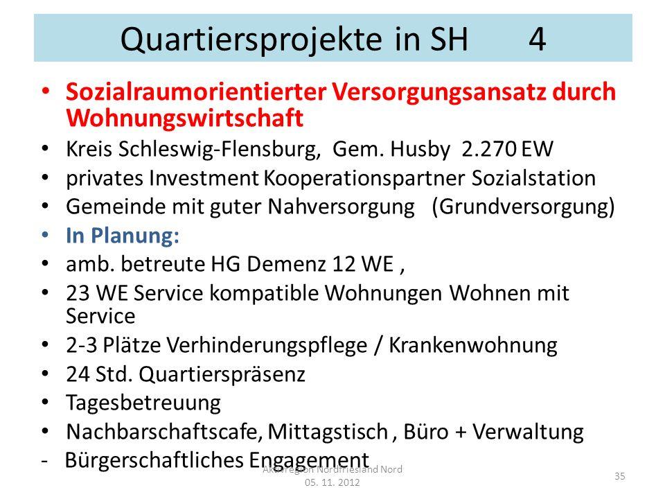 Quartiersprojekte in SH 4 Sozialraumorientierter Versorgungsansatz durch Wohnungswirtschaft Kreis Schleswig-Flensburg, Gem. Husby 2.270 EW privates In