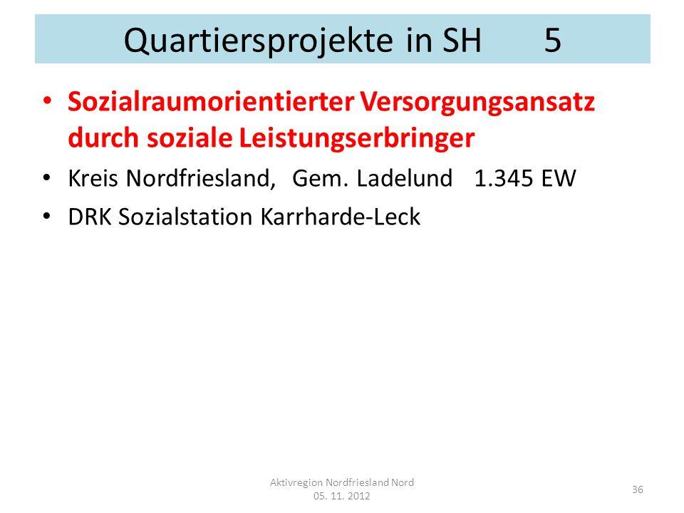 Quartiersprojekte in SH 5 Sozialraumorientierter Versorgungsansatz durch soziale Leistungserbringer Kreis Nordfriesland, Gem. Ladelund 1.345 EW DRK So