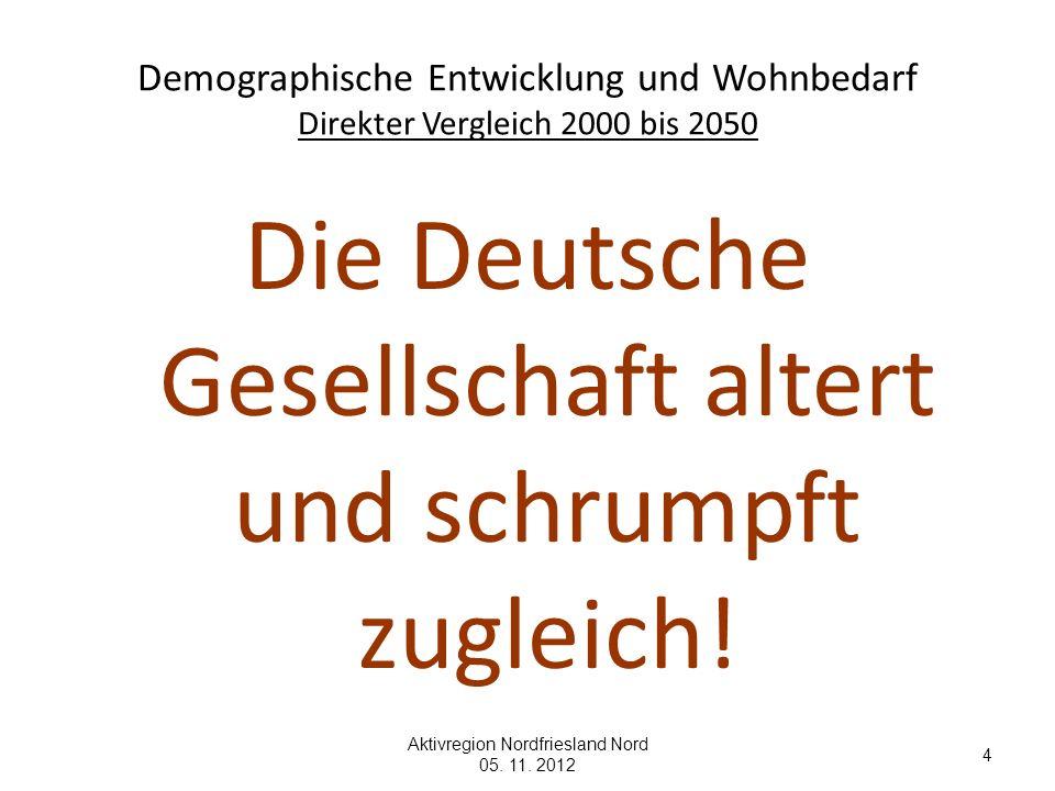 4 Demographische Entwicklung und Wohnbedarf Direkter Vergleich 2000 bis 2050 Die Deutsche Gesellschaft altert und schrumpft zugleich!