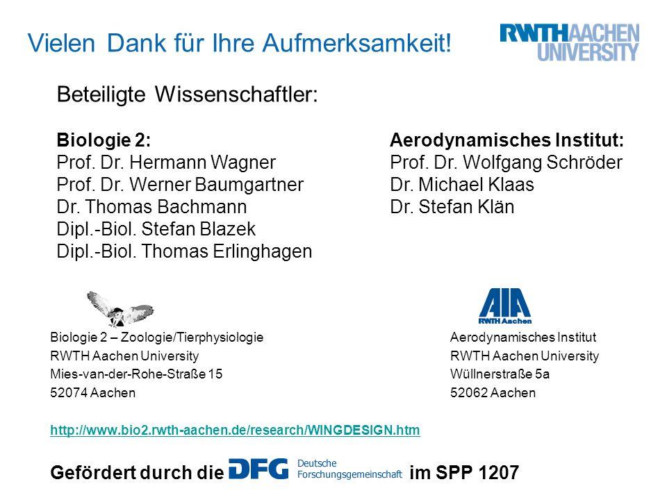 Biologie 2 – Zoologie/TierphysiologieAerodynamisches InstitutRWTH Aachen University Mies-van-der-Rohe-Straße 15Wüllnerstraße 5a 52074 Aachen52062 Aach