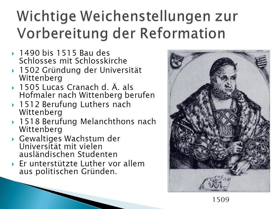 1490 bis 1515 Bau des Schlosses mit Schlosskirche 1502 Gründung der Universität Wittenberg 1505 Lucas Cranach d. Ä. als Hofmaler nach Wittenberg beruf