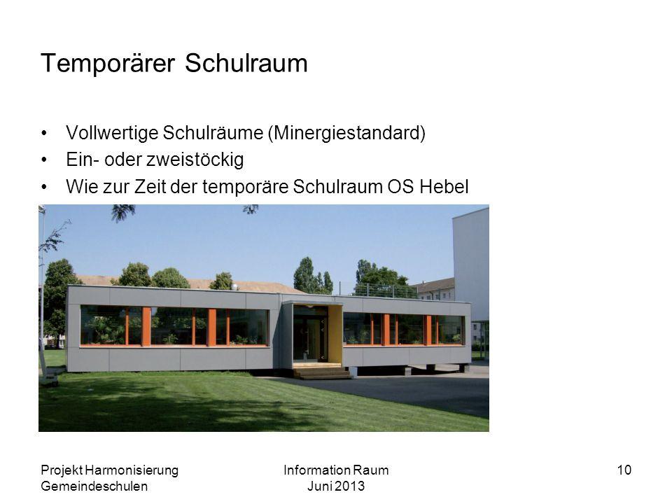 Projekt Harmonisierung Gemeindeschulen Information Raum Juni 2013 10 Temporärer Schulraum Vollwertige Schulräume (Minergiestandard) Ein- oder zweistöc