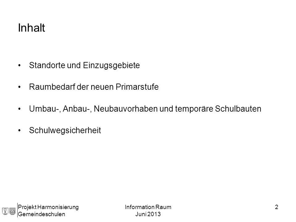 Projekt Harmonisierung Gemeindeschulen Information Raum Juni 2013 2 Inhalt Standorte und Einzugsgebiete Raumbedarf der neuen Primarstufe Umbau-, Anbau