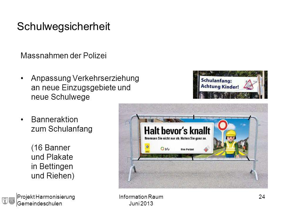 Massnahmen der Polizei Anpassung Verkehrserziehung an neue Einzugsgebiete und neue Schulwege Banneraktion zum Schulanfang (16 Banner und Plakate in Be